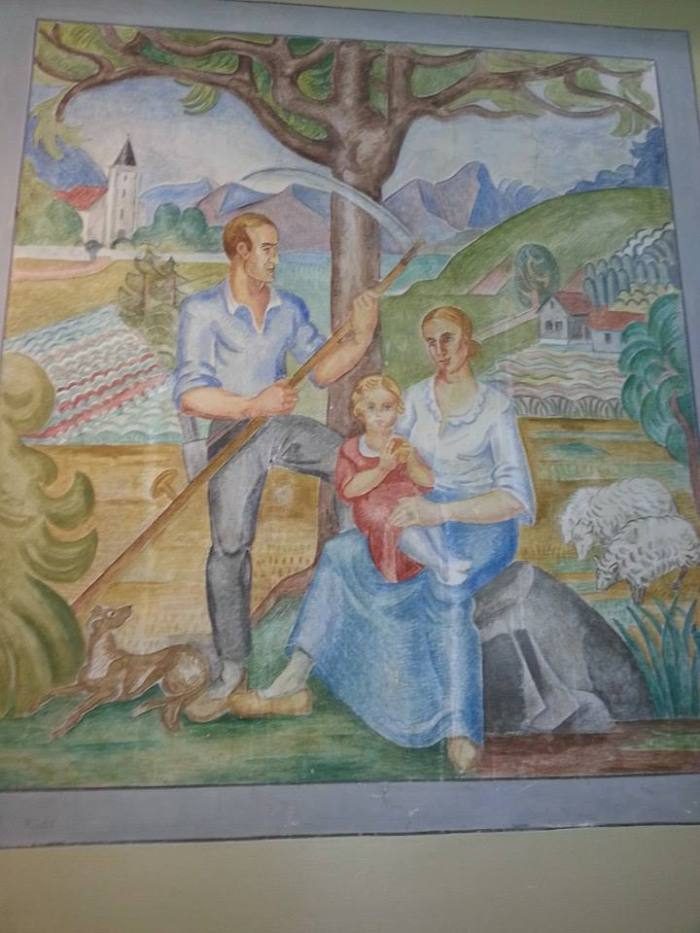 Nygård skole, Берген: Фрески в жанре соцреализма